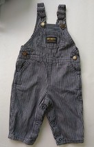 Vtg OshKosh Hickory Stripe Overalls Denim Vestbak Railroad Baby Romper N... - $31.68