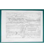 ARCHITECTURE India Rock Temples at Ellora - 1828 Antique Print - $8.55