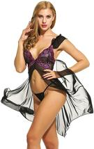 Women Sexy Lingerie  Babydoll Dress Open Front Sleepwear Set with GString Set image 5