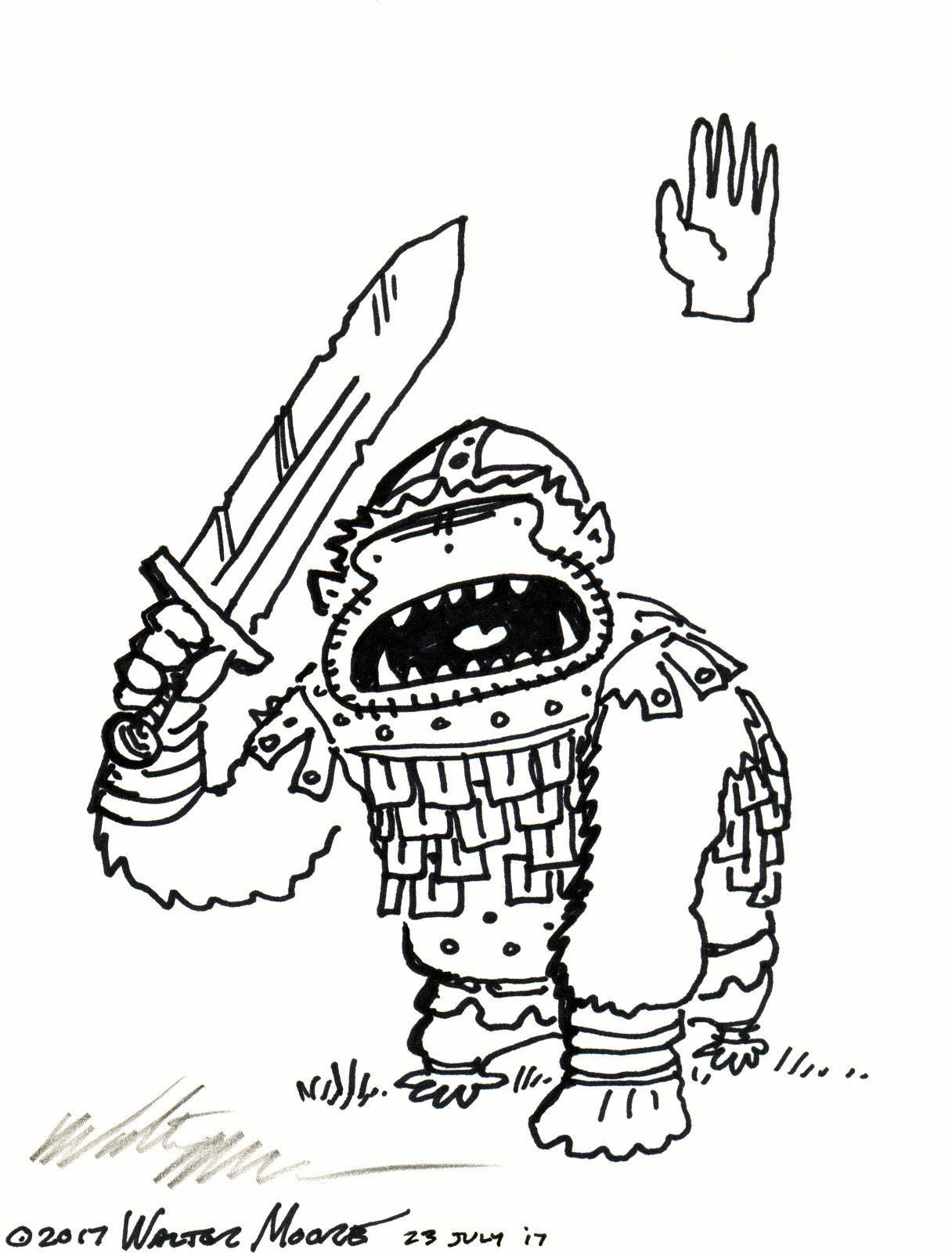 Uruk Ape of the White Hand. Original Signed Cartoon by Walter Moore image 1