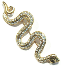 Snake Serpent Pin Brooch Clear Crystal Goldtone Metal Animal Jewelry - $19.99