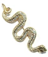 Snake Serpent Pin Brooch Clear Crystal Goldtone Metal Animal Jewelry - $19.99