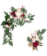 Artificial Flower Swag for Marsala Wedding Ceremony Sign Floral Decorati... - $85.99