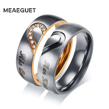 Meaeguet His Queen Hers King Heart Wedding Rings Women Men Stainless Ste... - $11.88