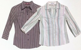 lot 2 dress shirts button 3/4 sleeve fitted stripe Old Navy size XS Expr... - $8.00