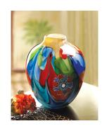 "FLORAL FANTASIA ART GLASS VASE 9"" TALL - $89.95"