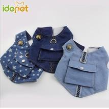 Pet Dog Vest Harness and Leash Puppy Adjustable Harness Jean Vest Dog Ha... - $484,28 MXN