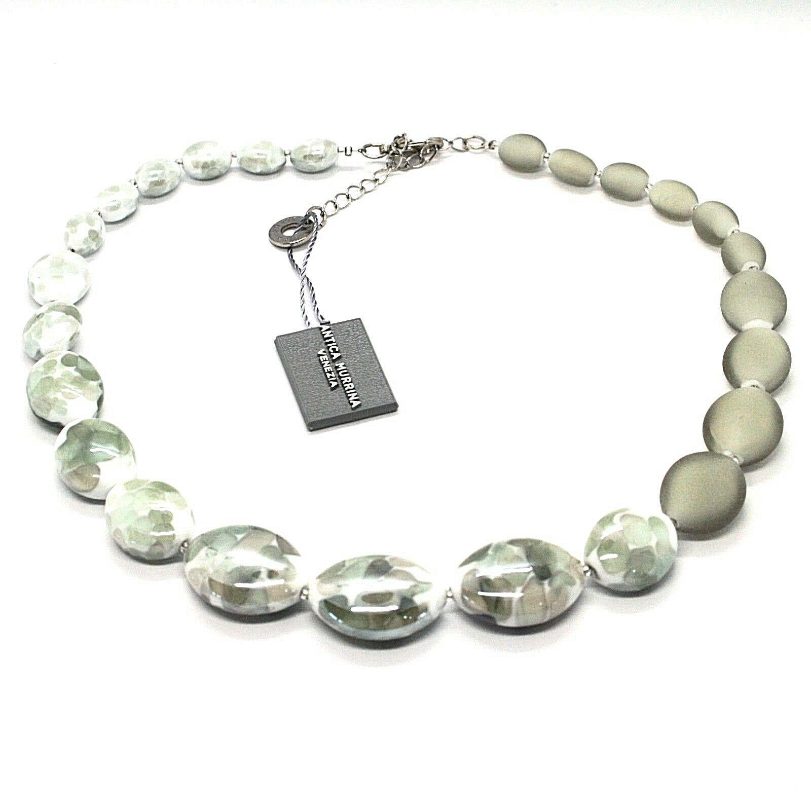 Necklace Antica Murrina Venezia Lampwork Murano Glass Charm Bead Grey White