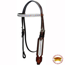 Western Horse Headstall Tack Bridle American Leather Brown Silver Hilason U-2-HS - $59.99