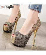 High Heels Platform Heels Shoes Woman Peep Toe Pumps Women Shoes Gold Si... - $69.30+