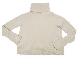 Moth Anthropologie High Low Turtleneck Fuzzy Knit Sweater Wool Blend XS ... - $28.84