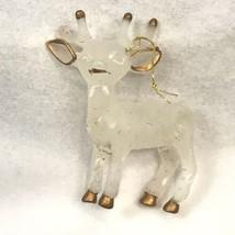 Vintage Christmas Ornament Reindeer White Gold Hard Plastic Glitter Deer... - $9.89