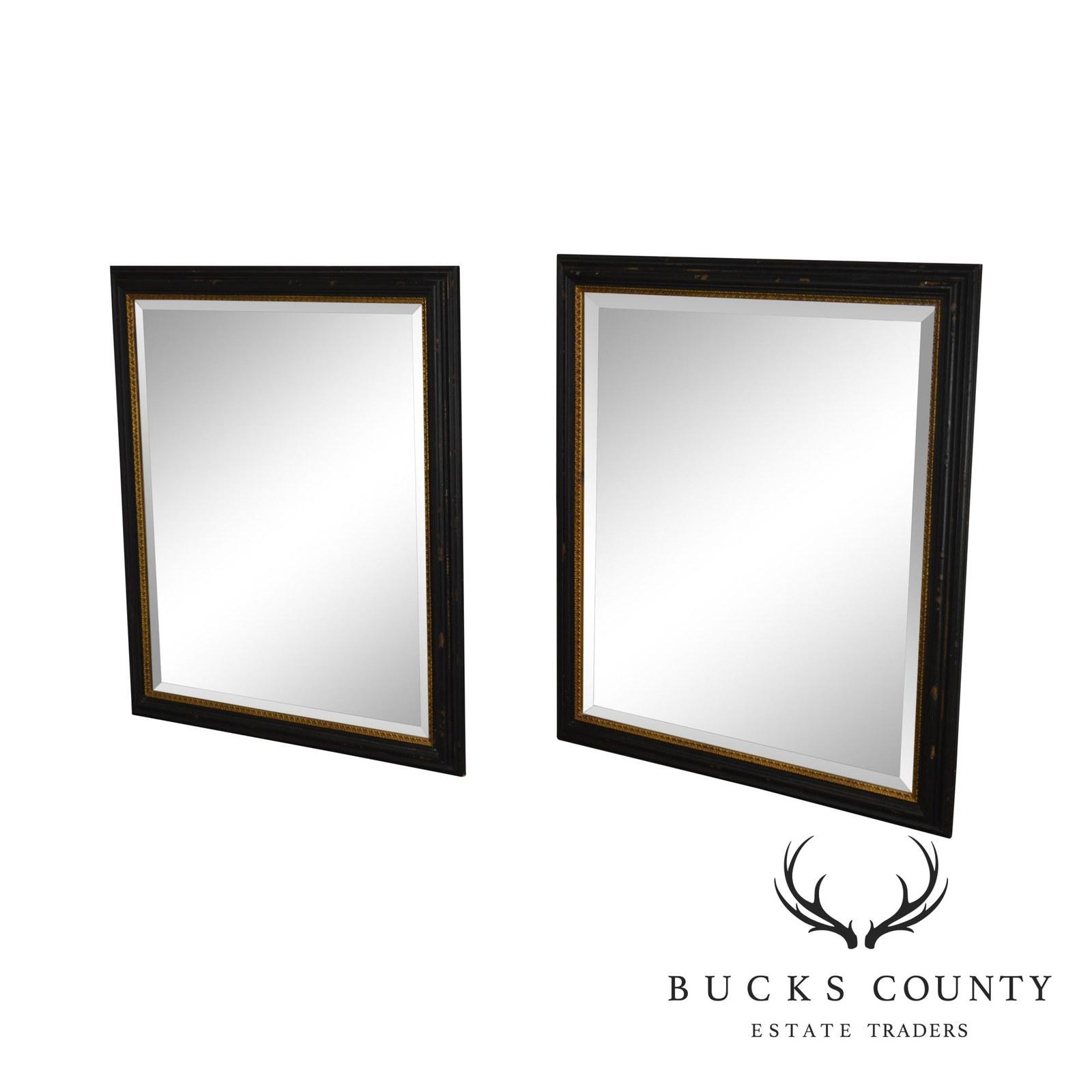 Regency Style Distressed Black & Gold Frame Rectangular Pair Beveled Mirrors - $1,195.00