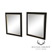 Regency Style Distressed Black & Gold Frame Rectangular Pair Beveled Mir... - $1,195.00