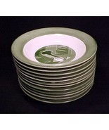 "12 Colonial Homestead Rim Soup Bowls Royal China 8 1/2"" Green 1950s Vint... - $59.95"