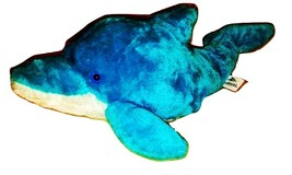 Sea World Vacation Park Prize Royal Blue White Bottle Nose Dolphin Show Plush 12 - $13.99