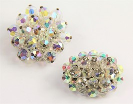 50s ESTATE VINTAGE Jewelry LOT OF 2 AB GLASS CRYSTAL & RHINESTONE BROOCH - $20.00