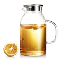 BEYONDA 62oz Glass Pitcher with Stainless Steel Lid, Ice Tea Carafe with... - $28.58