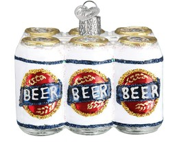Six Pack of Beer Man Cave Holiday Ornament Glass - $43.76