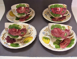 4 Belle Fiore Cups and Saucers Solian Ware Simpsons Potters England Vintage - $39.99