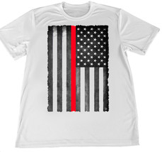 Thin Red Line Firefighter Flag Wicking T-Shirt w American Flag Car Coaster - $14.80+