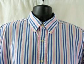 Ralph Lauren Yarmouth Striped Shirt Size 17 - 34/35 Cotton Pink Blue Po... - $23.36
