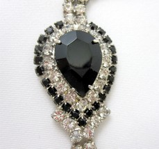 Vintage 1960s Prong Set Rhinestone Bracelet Box Clasp Black Marquee Stone - $29.99