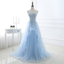 Women's Elegant Sweetheart Tulle Evening Dress For Formal Party With Appliques - $128.99