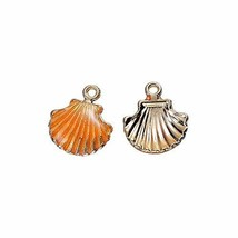 Scallop Shell 18mm Gold Plated Orange Enamel Beach Charms 10 PCs - $18.81