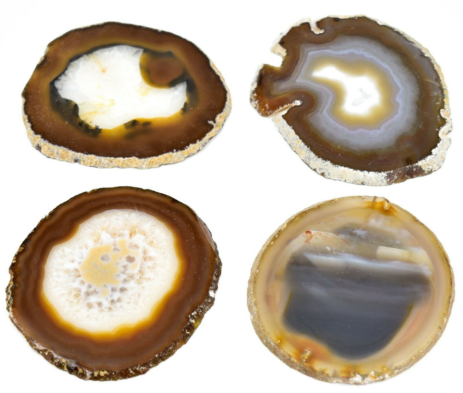 4pc. Polished Agate Quartz Crystal Sliced Slab Gemstone Coaster Set