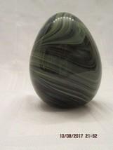 Fenton Glass 2014 Hb EGG- BLUE/GREEN/BLACK Swirls Signed By Dave Fetty - $95.00