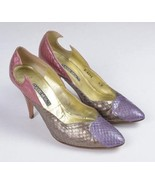 CLAUDIO MERAZZI Multi Color Snake Skin Leather High Heel Pumps Shoes Wom... - $38.60