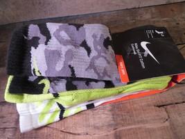 Nike Pack de 3 Drifit Coton Matelassé Chaussettes Crew TAILLE L 8-12 Neuf - $26.02