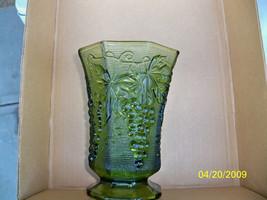 Vintage Anchor Hocking paneled Vase Emerald Green Harvest Grape, raised ... - $6.50