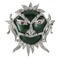 3.00 carat Ruby and Diamond 18k Gold Green Enamel Carnival Ornate Mask Brooch - $6,925.05