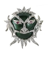 3.00 carat Ruby and Diamond 18k Gold Green Enamel Carnival Ornate Mask B... - $6,925.05