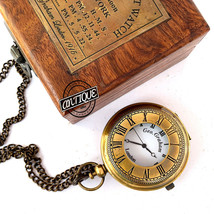 Coat Pocket Watch Brass Chain Clocks With Wood Case Best Gift For Parent... - £28.37 GBP