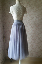 LIGHT GRAY Midi Length Tulle Skirt Tulle Midi Skirt Plus Size Gray Party Skirts image 6