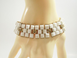MONET White SQUARES Gold Plated Link BRACELET Wide Safety Chain Vintage ... - $27.71