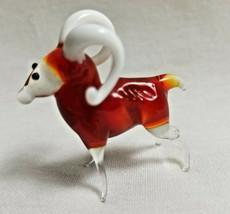 Russian Hand-Blown Art Glass Figurine Ram Buck Sheep Bright Orange White  - $24.50