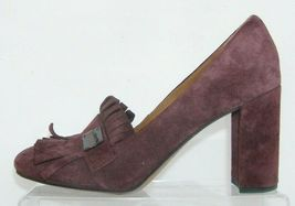 Franco Sarto 'Ainsley' purple suede buckle kiltie slip on block heels 7.5M image 4