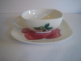 Red Wing Lexington Rose Cup and Saucer Set Concord Shape - $13.81