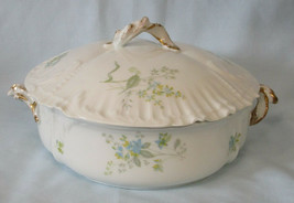 Redon M. Limoges 5069 Blue Flowers Covered Serving Bowl - $48.40