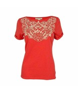 Charter Club Women's Embroidered Cuffed Sleeve Chilled Melon Top Size La... - $9.80