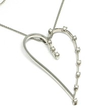 18K WHITE GOLD NECKLACE, BIG HEART PENDANT, 0.44 CARATS DIAMONDS, EAR CHAIN image 1