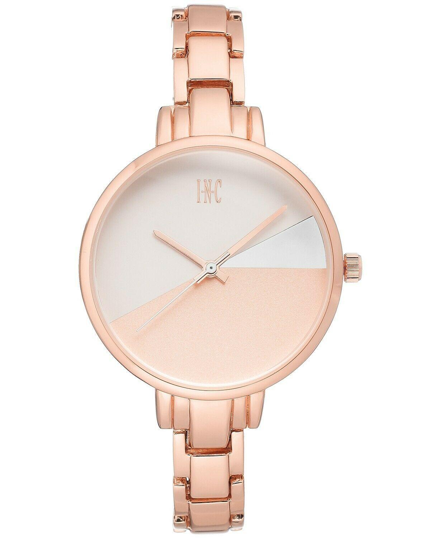 I. N.c. Mujer Tono Oro Rosa 36mm Pulsera Art Déco Estilo Geométrico Reloj Nuevo