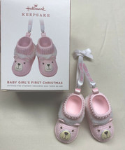 Hallmark 2019 Baby Girls First Christmas Pink Bear Booties  - $4.90