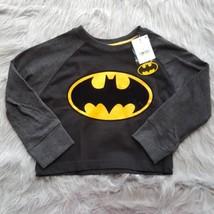 DC Comics Batman Boys 3T Long Sleeve Tee T - Shirt NWT Black w/ Velvet Logo - $7.69