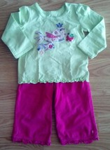 Girl's Sz 12 M Months 2 Pc TCP Place Green Bird Top & Pink Ruffled Pants... - $12.00