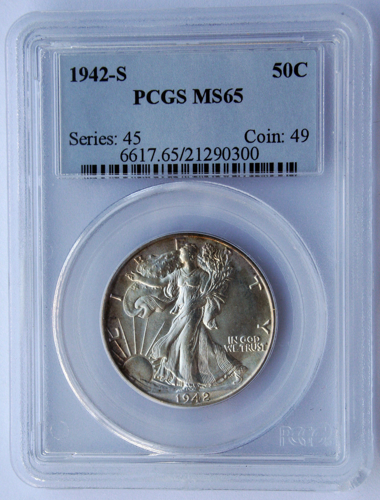 1942S Walking Liberty Half Dollar 90% Silver Coin MS65 PCGS Lot# SR 1122